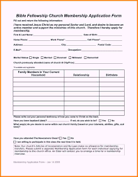 Church Member Information Form Template Templates Resume