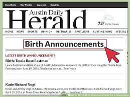 Birth Announcement In Newspaper How To Write Birth Announcements For A Newspaper 14 Steps