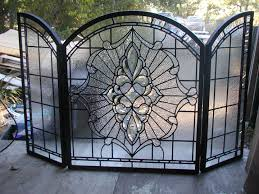 custom leaded glass and bevels fireplace screen