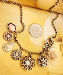 rose charm necklace antique gold chain unique vintage style fashion costume jewelry jw110