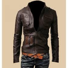 mens zip pocket slim fit dark brown leather jacket dark brown jackets