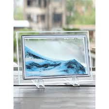3d hourglass sand moving scene frame picture ornament craft cloudy 22 x17cm