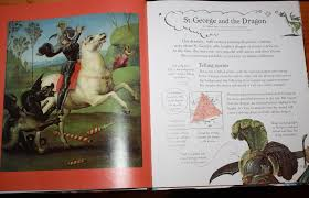each double page spread features a picture of a famous painting along with a short historical description the thing that my eye are the arrows to