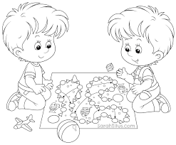 Boy Board Game Coloring Page Children Playing Pages Kid Colouring