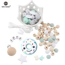 lets make baby silicone teether doughnut beads pacifier clips teething accessories diy jewelry nursing necklace baby