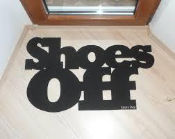 Shoes Off door mat. Custom doormat. Home decor. Elegant floor