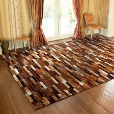 Handmade Leather Patchwork Rugs Cow Cowhide