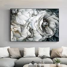 Step by step wall shelves design. Home Decor Big White Rose Canvas Painting Wall Art Pictures For Living Room Home Decoration Home Garden Casaalvarezrh Com