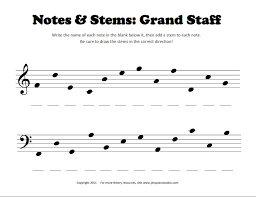 Notes & Stems Worksheet - Pianimation.com