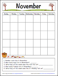 November Through November Calendars November Learning Calendar Template For Kids Free Printable