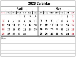Free Printable April Calendar 2020 Download April May 2020 Printable Calendar Templates