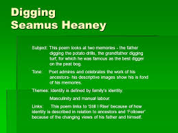 digging seamus heaney gcse anthology page between my finger  11 digging seamus heaney