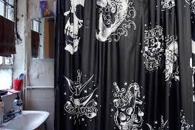 Skull Bedroom Curtains Rainbow Polka Dot Shower Curtain