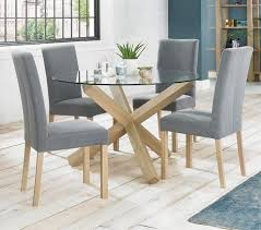 solid oak and glass round dining table contemporary criss cross base