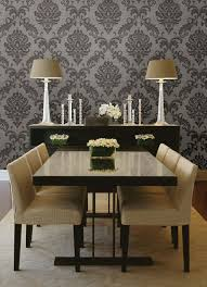 formal dining room decor ideas. Gorgeous Formal Dining Room Decor Idea With A Damask Wallpaper Feature Wall Ideas