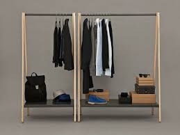 ... Wardrobe Racks, Clothes Rack Shelf Garment Rack With Cover Big And  Small Freestanding Light Wooden ...