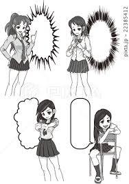 ベクター 女子高生 漫画 モノクロのイラスト素材 Pixta