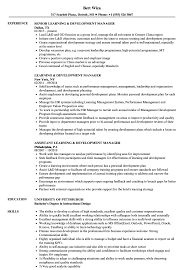 Learning Development Manager Resume Samples Velvet Jobs