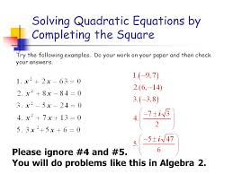 solving quadratic equations by completing the square worksheet 2117875