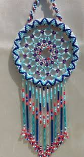 Beaded Dream Catchers Patterns Blue Lemon Yellow Red and Turquoise Multi Colored Czech Glass 24