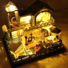 building doll furniture. diy doll house luxury villa miniature wooden building model dollhouse furniture toys of houses for