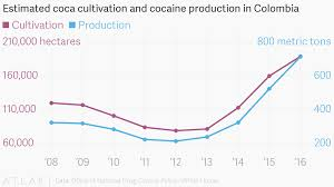 Cocaine Chart Estimated Coca Cultivation And Cocaine Production In Colombia
