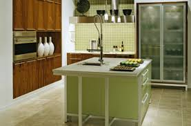 view in gallery classy modern kitchen in green with glass door refrigerator that steals the spotlight