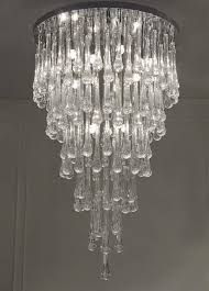 impressive clear modern murano glass chandelier with tear drop shaped elements and chrome parts irson is part of our vip collection which contains s