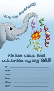 cute elephant invitation for the very first birthday