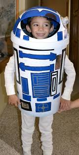 homemade costume made out of a garbage can for dane