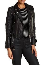 domabelted leather moto jacket