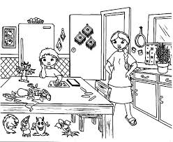Small Picture Mother is Upset the Kitchen is Dirty Coloring Pages Download