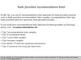 Bank President Recommendation Letter