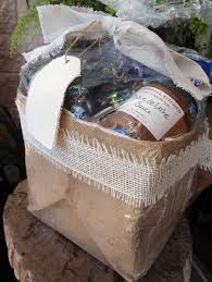 gift basket used shrink wrap bag burlap square basket b777 21 with linen ribbon bow white burlap ribbon trim and a canvas t149 71