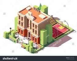 Small School Building Design Vector Isometric Small School Building Schoolyard Stock