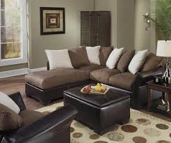 Leather Sofa Makeover Contemporary Vinyl Leather Mocha Micro Suede Sectional