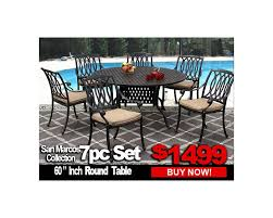 patio furniture san marcos 7 piece set with 60 inch round table for 6 person zenpatio