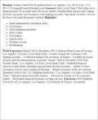Resume Templates: Entry Level Bank Teller