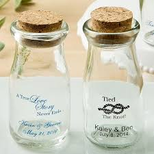 3 5 ounce clear glass mini milk bottle jars personalized with wedding design and 2 lines of