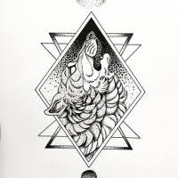 Fluffy dotwork howling wolf in geometric frame tattoo design Ideas