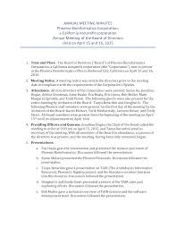 Annual Meeting Minutes Nonprofit Company Templates At