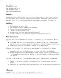 Concession Worker Sample Resume 100 Concession Stand Worker Resume Templates Try Them Now 1