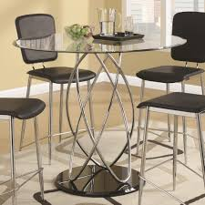 ciccone contemporary glass counter height table with spiral base