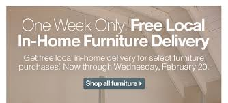 Crate and Barrel Free furniture delivery 7 days only