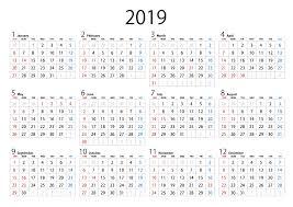 2019年カレンダーの無料イラスト素材イラストイメージ