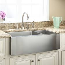 33 optimum 70 30 offset double bowl stainless steel farmhouse sink wave