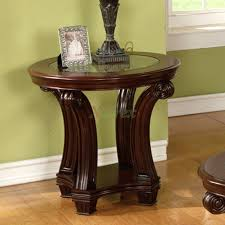coffee table and matching end table and console round oak veneer with glass top