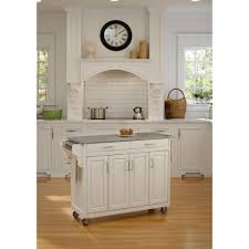 home styles create a cart white kitchen cart with salt and pepper granite top