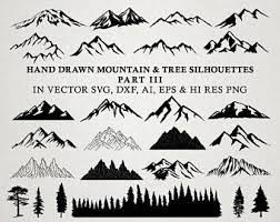 Hand Drawn Mountain Clipart - Mountain Silhouette & Nature Rustic Tree  Clipart Clip art PNG Vector