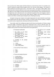 Grade Reading With 10 Multiple Choice Questions Worksheet Free Esl ...